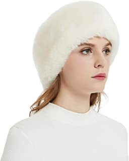 Faux Fur Winter Headband-Womens Fashionable Ski Hat Ear Warmer Headwrap with Elastic(Apricot)