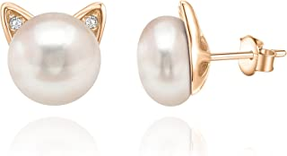 14K Gold Plated Sterling Silver AAA+ Freshwater Cultured Pearl Cat Pearl Earrings and Pendant