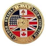Pièce rare Commémoration du jour du débarquement sur les plages Sword et Gold Beach Seconde Guerre mondiale Plaquée or 24...