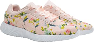 KazarMax XXIV Women's Peach Floral Walking Sneakers/Shoes for Running/Gym/Workout [ALL004] (Made in India)