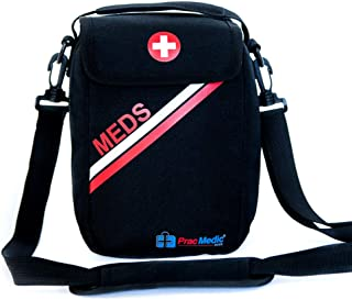 PracMedic Bags Lockable, Insulated, Travel Medicine Bag- Holds Epipens, Auvi-Q, Asthma Inhaler & Spacer or Diabetic Supplies, Your Personal Medicine Organizer- Grab and Go with T-MEDS Bag (Black)