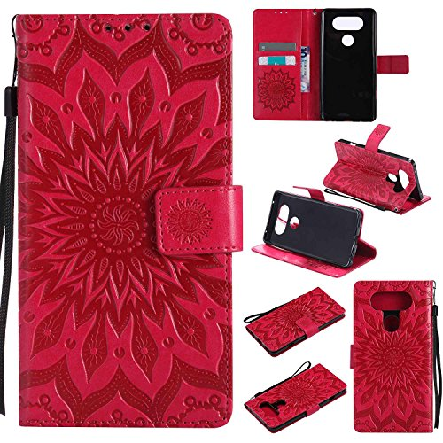 pinlu® PU Leder Tasche Etui Schutzhülle für LG V20 Lederhülle Schale Flip Cover Tasche mit Standfunktion Sonnenblume Muster Hülle (Rot)