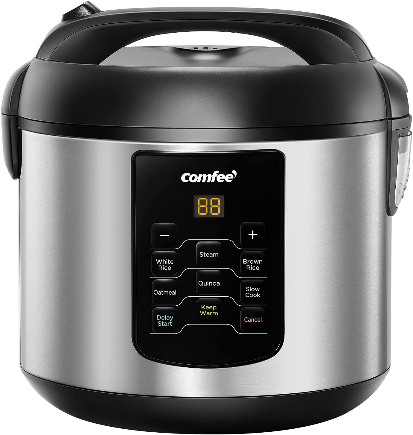 COMFEE' Rice Cooker, 6-in-1 Stainless Steel Multi Cooker, Slow Cooker, Steamer, Saute, and Warmer, 2 QT, 8 Cups Cooked, Brown Rice, Quinoa and Oatmeal, 6 One-Touch Programs