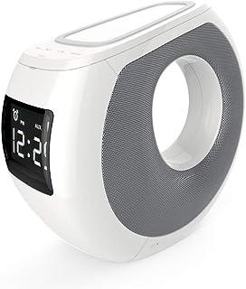 WangLx Ele Inalámbrico de Carga Bluetooth Altavoz Despertador 3 en 1 Qi Cargador Inalámbrico Bluetooth Altavoz Estéreo Radio Reloj Compatible iPhone X, XS MAX, XR, X, 8, 8 Plus, White