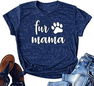 DUDUVIE Dog Mom Shirt Women Funny Dog Mama Cute Tee Letter Printed T Shirt Tops Blouse