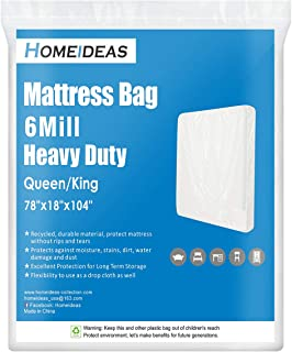 HOMEIDEAS 6 Mil Super Thick Mattress Bags for Moving Queen/King, Heavy Duty Mattress Moving Bags for Long Term Storage, Tear & Puncture Resistance - 1 Pack