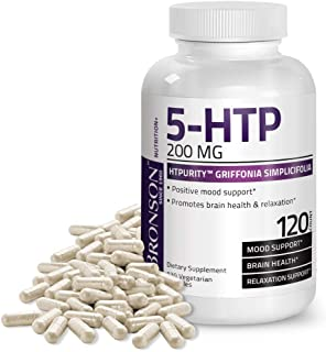 Bronson 5-HTP 200 mg HTPurity™ Griffonia Simplicifolia - Supports Positive Mood & Relaxation, 120 Vegetaria...