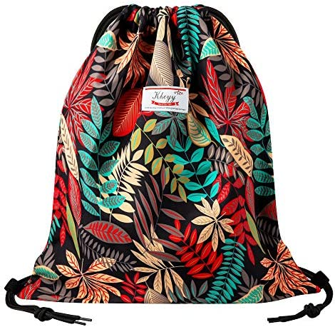 Drawstring Bag Water Resistant Lightweight Gym Sackpack for Casual Swimming Yoga DARK RED LEAF product image