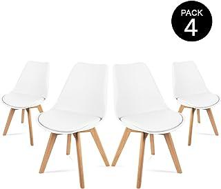 Mc Haus LENA - Pack 4 sillas Blancas Tulip Comedor oficina,