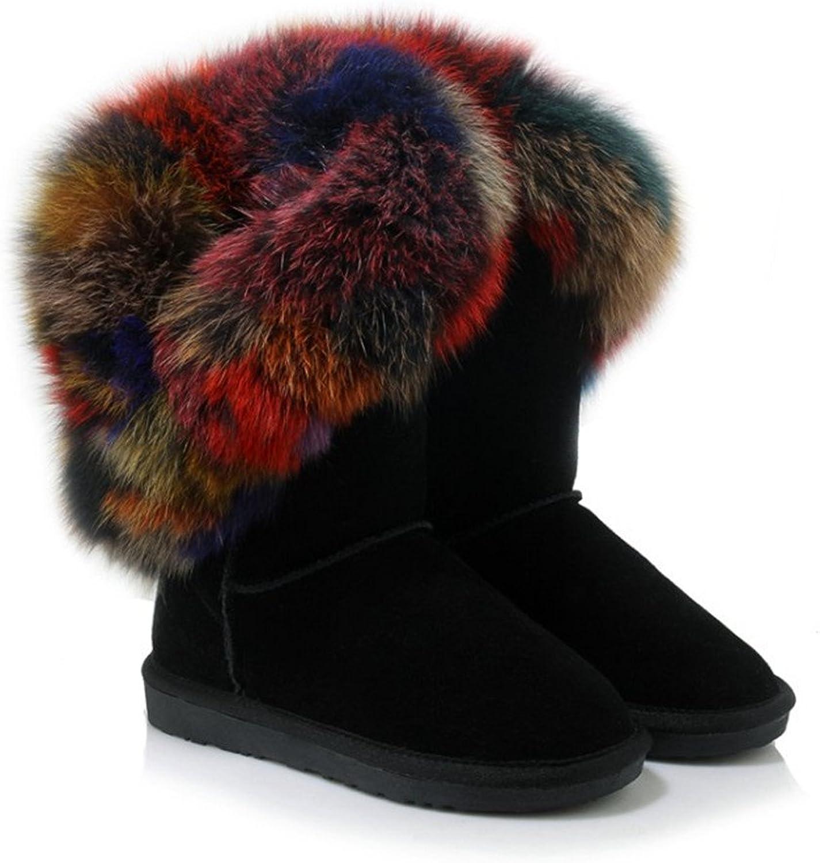 CCBubble Ankle Boots Women shoes Winter Warm Fox Fur Ladies shoes