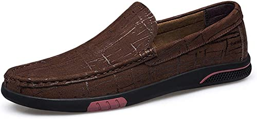 EGS-chaussures Mocassins De Conduite pour Homme Mocassins Bateau Slip on Ox Cuir Fine Texture Simple Chaussures Chaussures de Cricket (Couleur   Marron, Taille   37 EU)