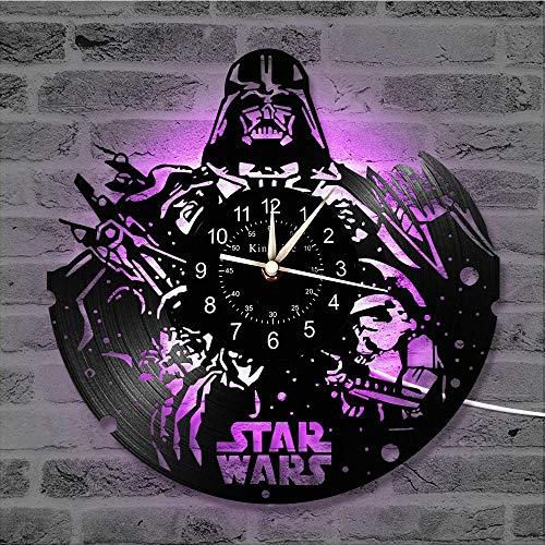 Smotly Horloge Murale en Vinyle, Décor Star War 7 Couleur Horloge Murale, Salon Chambre Main Accueil Décoration Murale Cadeaux pour Les Enfants,B,with Light