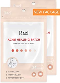 Rael Acne Pimple Healing Patch - Absorbing Cover, Invisible, Blemish Spot, Hydrocolloid, Skin Treatment, Facial Stickers, Two Sizes, Blends in with skin (48 Patches, 2Pack)
