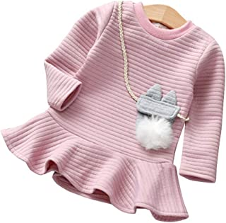 Fossen Niña Ropa, Vestidos Niña Otoño e Invierno, Fossen 1-5 Años Bebe Niña Manga Larga Vestir de Bolsillo de Peluche Tops Camiseta de Fiesta