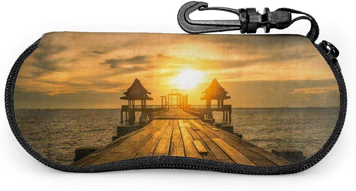 Bridge Port Sunset Sunglasses Soft Case Ultra Light Neoprene Zipper Eyeglass Case With Key Chain