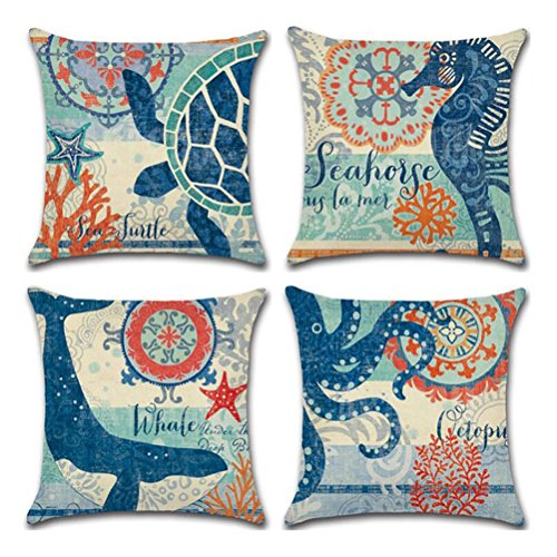 Ocean Theme Square pillow case U-LOVE Mediterranean Style Decorative Cotton Linen Throw Cushion Cover Sets 18 X 18 Inch Pillow covers,4 pack