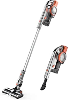 Cordless Vacuum Cleaner, 2 in 1 Stick and Handheld Vacuum Cleaner Lightweight Bagless Vacuum with 10Kpa Powerful Suction, LED Brush and Wall-Mount