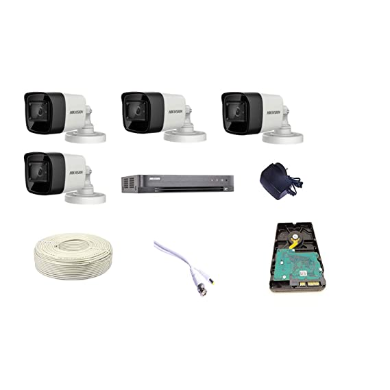 HIKVISION Techno-CAM 4K Supper HD 8MP Cameras Combo Kit - 4CH HD DVR+ 4 Bullet Cameras +1TB Hard Disc+ Wire Roll +Supply & All Required Connectors