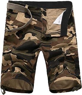 Fseason Men Slim Wide Half Pants Multi-Pockets Camouflage Rip Stop Pants