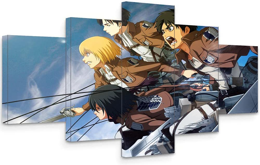 Prints on Canvas 5 Piece Attack Under blast sales Titan Free shipping anywhere in the nation Wall Anime P Art Poster