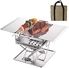 SinglePatio Garden Barbecue Grill Fire Pit, Foldable Charcoal BBQ Grill, Outdoor BBQ Stove with Seasoning Rack/Grill Net/C...