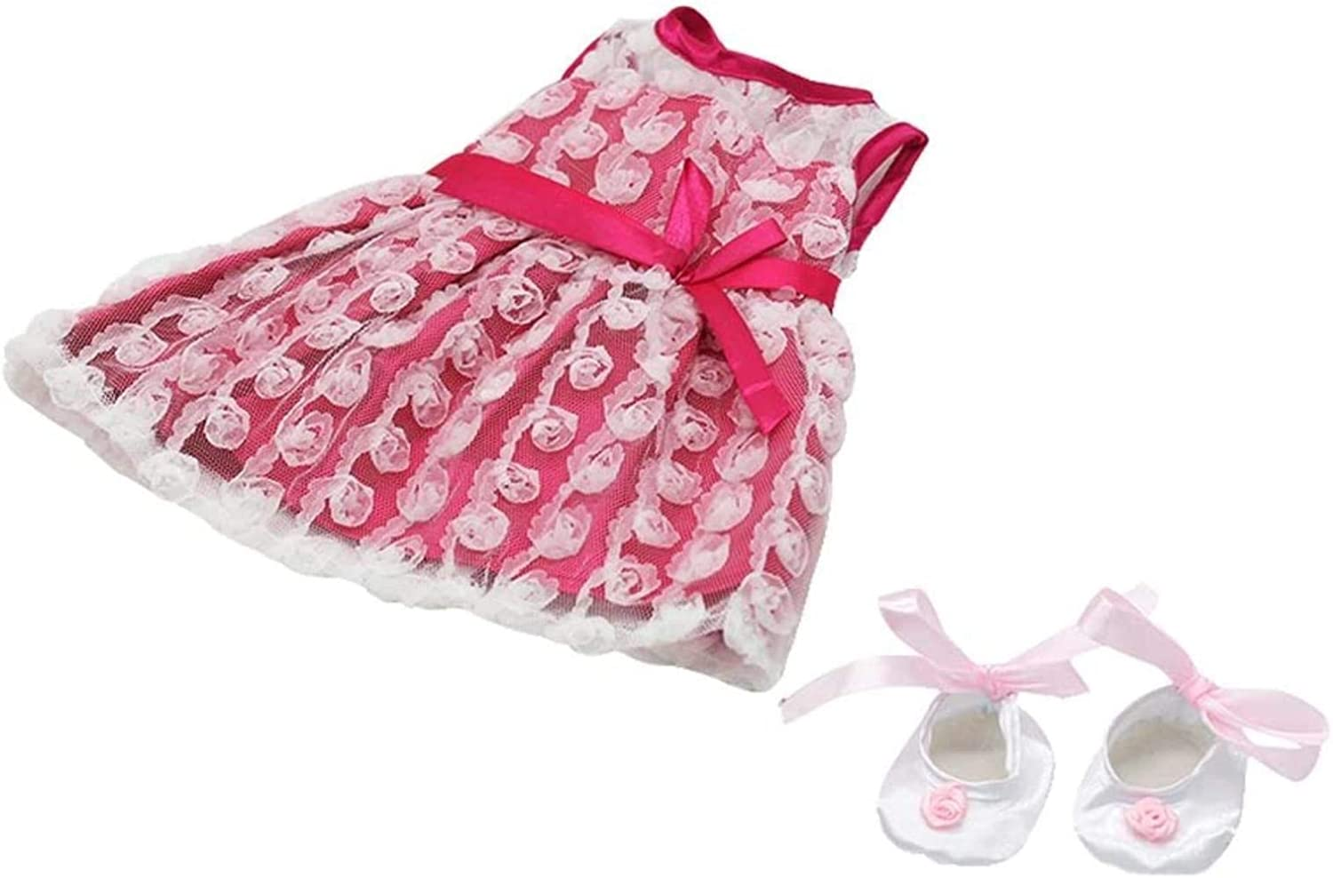 TONG Pink Rose Denver Mall Lace San Diego Mall Dress with Shoes Dance 18'' Satin Fits Ameri