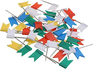 Pincushions - 50pcs Multi Colored Flag Shaped Push Pin Cork Notice Board Marker Map Pins Home Office School Stationery Supplies