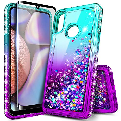 E-Began Galaxy A10s Case with Tempered Glass Screen Protector (Full Coverage), Sparkle Glitter Flowing Liquid w/Bling Diamond, Durable Girls Cute Phone Case for Samsung Galaxy A10s (A107) -Aqua/Purple