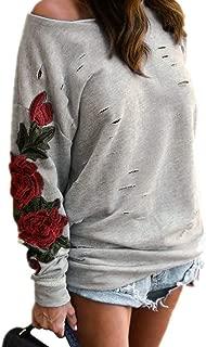 KIRJAUDU Womens Ripped One Shoulder Floral Embroidered Long Sleeve Top Sweatshirt