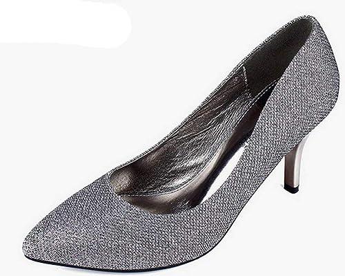 Fuxitoggo Un Peu Chaussures élancées (Couleuré   De l'argent, Taille   34)
