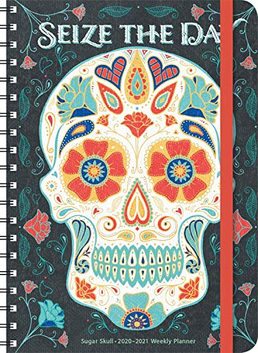 """Sugar Skull 2021 On-the-Go Weekly Planner: 17-Month Calendar with Pocket (Aug 2020 - Dec 2021, 5"""" x 7"""" closed): Seize the Day"""