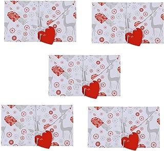 Amosfun 5 Piezas Tarjetas de Felicitación del Día de San Valentín sobre Papel de Carta Creativo en Forma de Corazón con Patrón de Ciervos de Hilo de Hilo para Fiesta de Boda