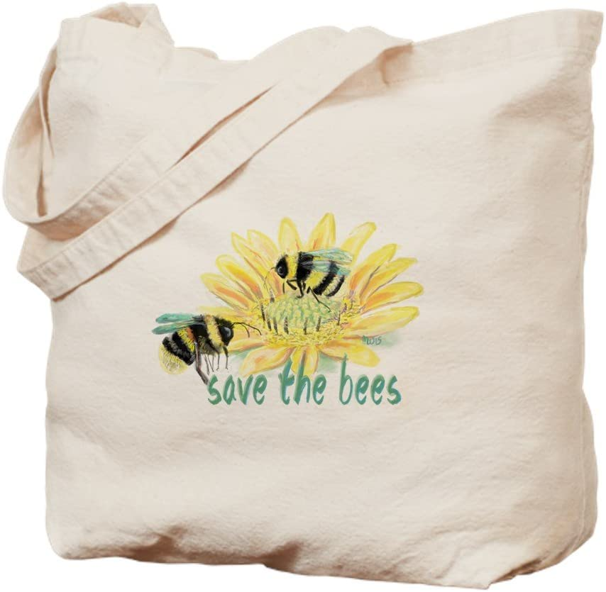 CafePress Save The Bees Tote Bag Natural Canvas Tote Bag, Reusable Shopping Bag
