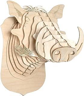 Antler Home Cardboard Safari Baltic Birch Plywood Animal Taxidermy Warthog Trophy Head, Winston Small