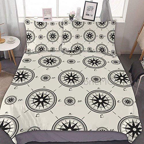 882 Duvet Cover Sets, Microfiber Bedding Set Twin Size, Vintage Compass Navigation Decorative 3 Piece Bedding Set with 2 Pillow Sham, Without Sheets