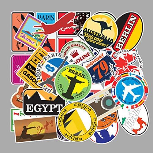 WOCAO 100 unids/set viaje al aire libre mapa país famoso logotipo PVC impermeable pegatinas decoración para maleta bicicleta coche guitarra skate