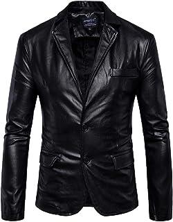 Mens Slim Fit Blazer Double Button Leather Jacket