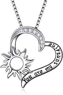 LUHE Sunflower Pendant Necklace for Women Girls Sterling Silver Sun Flower Necklace Engraved You are My Sunshine (Sunflower Necklace)