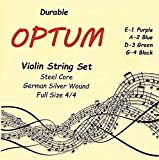 Optum Violin String Set - 4/4 Medium Tension, German Silver Wound