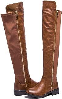 Women's Low Heel Full-Length Zipper Stretch Back Riding Combat Over The Knee Boots ZE01