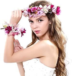 Women Flower Wreath Crown Floral Wedding Garland Headband Wrist Band Set