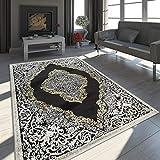 Paco Home Tapis Oriental Moderne Effet 3D Chiné Scintillant Ornements Noir Doré, Dimension:120x170 cm