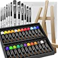 Nicpro Beginner Acrylic Paint Set, 24 Rich Pigment Colors (12ml) 12 Brushes, Wooden Easel, 4 Pack Canvas Panel, Paint Tray, Painting Art Supplies for Artist Adult, Student & Kid