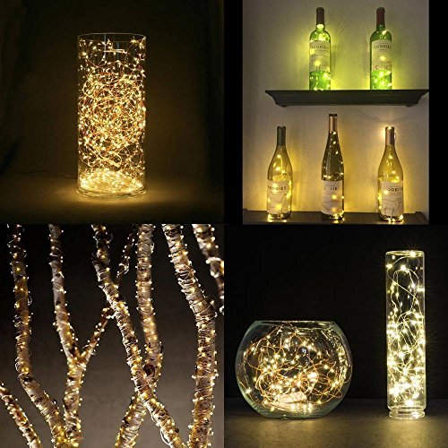 3 Pcs Luces Bombillas 20 LEDs 100cm 40 inch en Forma de Corcho de Botella de Vino para Fiesta Bodas Festival Conciertos Decoración Árboles Navidad Carnaval (Amarillo) (3 pilas de botón LR41 incluidas)