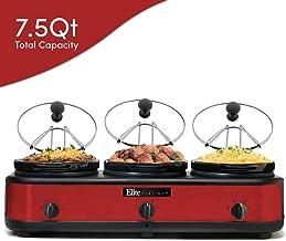 Elite Platinum EWMST-325R Maxi-Matic Triple Slow Cooker Buffet Server Adjustable Temp Dishwasher-Safe Oval Ceramic Pots, Lid Rests, 3 x 2.5Qt Capacity, Red