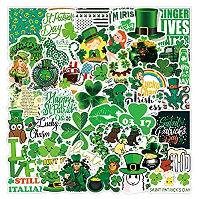 St.Patrick's Day Stickers 52 Pcs Shamrock Leprechaun Stickers,Vinyl Waterproof Stickers for Kids Teens Adults Gift St. Patrick's Day Decorations Party Home Supplies