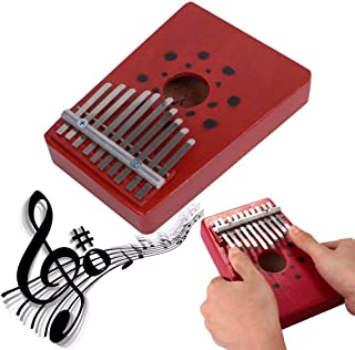Aideal 10 Key Finger Kalimba Solid Wood Mbira Thumb Piano Musical Instrument kit for Children Adults Music Beginners