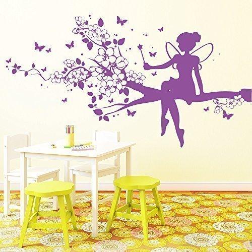 """Wandtattoo-Loft """"Elfe auf Baum"""" - Wandtattoo / 49 Farben / 3 Größen/violett / 55 x 102 cm"""