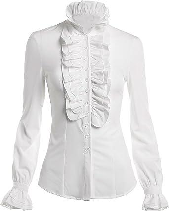 Himone Blusa de cuello alto para mujer, con volantes, diseño vintage