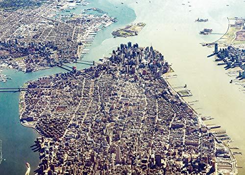 Aluminium schilderij Alu Art Manhattan Aerial Skyline New York - Bezienswaardigheden - Stad - 70 x 50 cm Woonkamer